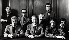 The Editorial Board of Playboy in 1970. Back, left to right: Robie Macauley, Nat Lehrman, Richard M. Koff, Murray Fisher, Arthur Kretchmer; front: Sheldon Wax, Auguste Comte Spectorsky, Jack Kessie.