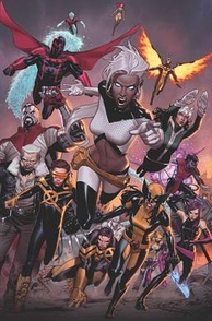 "Variant cover of Extraordinary X-Men #17, Dec. 2016 (flagship series of this era) during the ""Inhumans vs. X-Men"" story arc. Art by Jorge Molina."