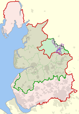 Gisburn's ancient parish, broken into its modern civil parishes, is shown here with purple boundaries, with Gisburn civil parish shaded blue. This map shows how Gisburn forms part of the Yorkshire territory which has been administered as part of Lancashire. Lancashire's ancient boundaries are in red, and administrative boundaries are in green.