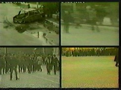 Television images showing burnt automobiles and marauding rioters on the streets of the industrial city of Sumgait during the pogrom there in February 1988.