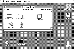 Mac OS by Apple Computer became the first widespread OS to feature a graphical user interface. Many of its features such as windows and icons would later become commonplace in GUIs.
