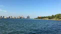 The Detroit River flowing between Detroit and Windsor.