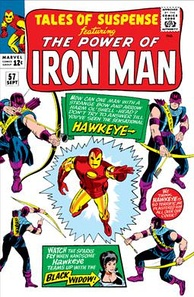Hawkeye's first appearance on the cover of Tales of Suspense #57 (September 1964). Art by Don Heck.