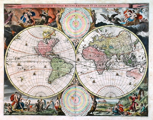 A 1657 world map. Several regions of the globe, notably western North America and Australia, remain mostly blank.