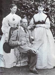 Mamie Dickens (left) with her sister Katey and their father Charles Dickens at Gads Hill Place c.1865