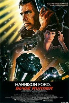 Collage of a man holding a gun, a woman holding a cigarette, and a futuristic city-scape.