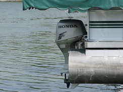 Honda Outboard motor on a pontoon boat