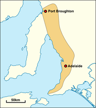 Approximate extent of Kaurna territory, based on the description by Amery (2000)