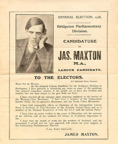 A leaflet from Jimmie Maxton's first campaign for Parliament.
