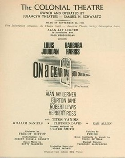 Credit page from Playbill for Boston tryout of On a Clear Day You Can See Forever (1965)