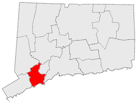 The Greater Bridgeport Region in relation to other unofficial Connecticut regions.