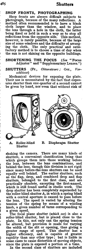 "The 1911 Cyclopedia of Photography divides shutters into ""roller-blind"" and ""diaphragm"" types, corresponding roughly to the modern focal-plane and leaf types."