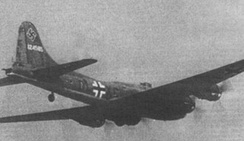 "Captured B-17F-27-BO in Luftwaffe markings, the USAAF-named ""Wulfe-Hound"", 41-24585, of the 360th BS/303rd BG, downed on 12 December 1942 near Leeuwarden, Netherlands, while on a raid on Rouen, France, the first Flying Fortress to fall intact into German hands. Operated by Kampfgeschwader 200 from March 1944.[145]"