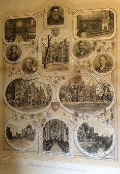 Memorial poster from Wycliffe Hall, c.1910, with portraits of the first four principals and views of 52 and 54 Banbury Road prior to the addition of the front dining hall