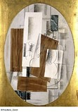 Georges Braque, 1914, Violon et verre (Violin and Glass), oil, charcoal and pasted paper on canvas, oval, 116 x 81 cm, Kunstmuseum Basel