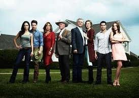 The new Dallas cast. From left: Jordana Brewster, Josh Henderson, Linda Gray, Larry Hagman, Patrick Duffy, Brenda Strong, Jesse Metcalfe and Julie Gonzalo.