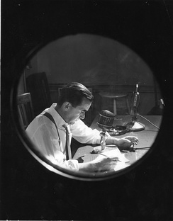 Edward R. Murrow at work with CBS, 1957