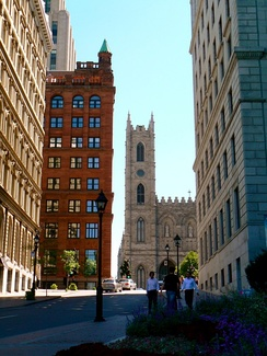 The hill leading to Place d'Armes in Montreal, an important historic site of French Canada
