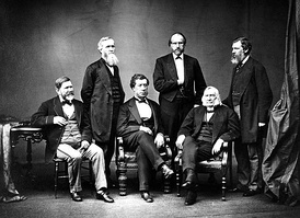 The American High Commissioners to the Treaty of Washington of 1871. U.S. Secretary of State Hamilton Fish served as chairman. From left to right: Robert Schenck, Ebenezer R. Hoar, George Henry Williams, Sec. Hamilton Fish, Samuel Nelson, J.C. Bancroft Davis. Brady – 1871