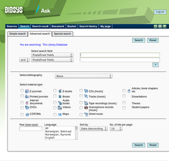 Screenshot of the older Ask version of Bibsys, showing the advanced search field