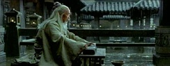 Xu Kuanghua playing an ancient qin in the film Hero.
