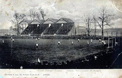 "The ""Rabbit Hutch"" stand along Stevenage Road sometime before Archibald Leitch's redesign in 1904–05"
