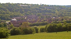 View of Farm Hill Way and Boothroyd Drive, showing the Model Farm towards the bottom left. Meanwood Cricket Club can also be seen.