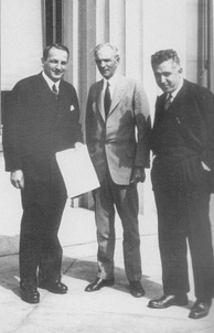 After signing the contract for technical assistance in building Nizhny Novgorod (Gorky) Automobile Plant. Dearborn, Mich., May 31, 1929. Left to right, Valery I. Mezhlauk, Vice Chairman of VSNKh; Henry Ford; Saul G. Bron, President of Amtorg.