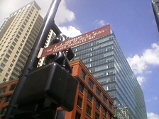 An honorary street name sign in Chicago for house music and the seminal DJ Frankie Knuckles.