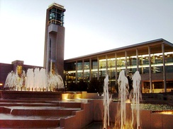 Duane G. Meyer Library and Jane A. Meyer Carillon with the John Q. Hammons Fountain