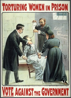 A WSPU poster showing the force feeding of Suffragettes in prison