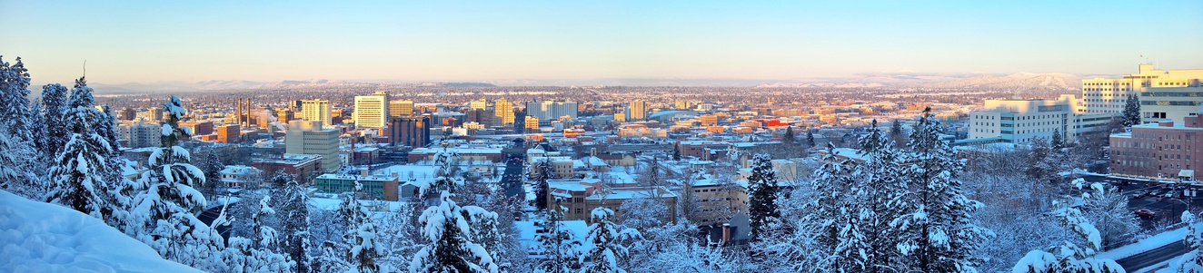 Panorama of Downtown Spokane looking north from Cliff Drive.