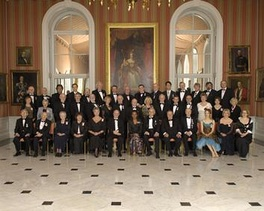 Governor General Michaëlle Jean, then Chancellor and Principal Companion of the Order of Canada, poses with a full group of Order of Canada appointees at the 101st investiture ceremony banquet in the Tent Room of Rideau Hall, 11 April 2008