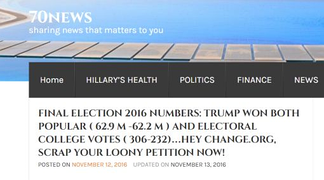 A screenshot of a fake news story, falsely claiming Donald Trump won the popular vote in the 2016 United States presidential election