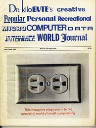 Back of the April 1980 issue, with a parody of other computer magazines