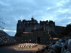 Pipers emerging from Edinburgh Castle during the Edinburgh Military Tattoo