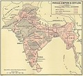 The Indian Empire in 1915 after the reunification of Bengal, the creation of the new province of Bihar and Orissa, and the re-establishment of Assam.