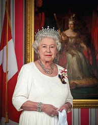 Her Majesty Queen Elizabeth II of Canada, wearing her Canadian insignia as Sovereign of the Order of Canada and the Order of Military Merit
