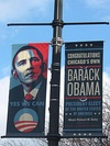 South Side banners celebrated the 2008 Obama campaign.