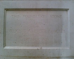 Foundation stone of Millicent Fawcett Hall in Westminster, London. Laid by Dame Millicent Garret Fawcett on 24 April 1929.
