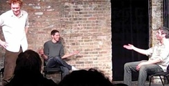 Three improvisers performing longform improv comedy at the Gorilla Tango Theatre in Chicago.