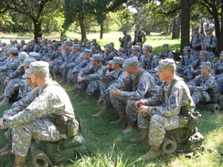 The University of Oklahoma Army ROTC assembled in formation at its Fall 2007 Field Training Exercise