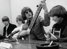 "The Byrds hosting their ""raga rock"" press conference for the release of ""Eight Miles High"" in March 1966"