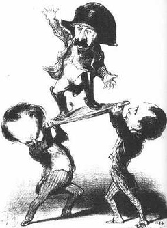 """Messieurs Victor Hugo and Émile de Girardin try to raise Prince Louis upon a shield [in the heroic Roman fashion]: not too steady!"" Honoré Daumier's satirical lithograph published in Le Charivari, 11 December 1848."