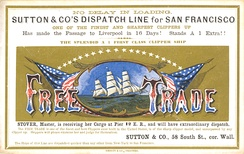 "Clipper ship sailing card for the ""Free Trade,"" printed by Nesbitt & Co., New York, early 1860s"