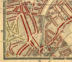"Map of Brixton in 1889, showing Coldharbour Lane, Angell Town and Loughborough Road. Published in Life and Labour of the People in London by Charles Booth. The red areas are ""middle-class, well-to-do"" and the yellow areas are ""upper-middle and upper classes, wealthy""."