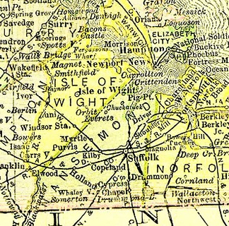 Nansemond County, now extinct, existed in Virginia from 1646 to 1972 (from 1895 map)