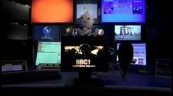 An image of 'Digit Al' sitting on the last BBC1 mechanical ident, taken from the last analogue BBC One Northern Ireland transmission on 23 October 2012 at 23:31 GMT.