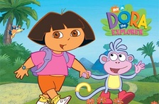 From left to right: Swiper (in background), Dora, and Boots