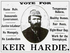 An election advertisement for Scottish Labour leader Keir Hardie
